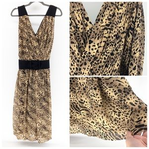 Adrianna Papell | Silk Cheetah Print Belted Dress
